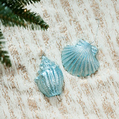 Blue Seashell Ornaments, Set of 2