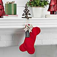 Fabric Red Dog Bone Personalized Stocking