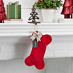 Fabric Red Dog Bone Personalized Stocking