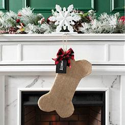Fabric Tan Dog Bone Personalized Stocking