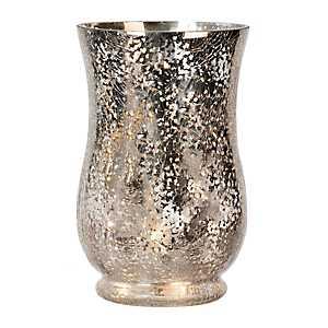 Silver Mercury Glass Pre-Lit Hurricane