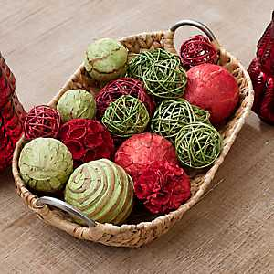 Red and Green Dried Glitter Orb Set