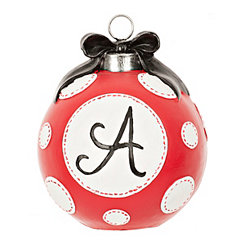 Red Polka Dot Monogram A Christmas Ornament Statue