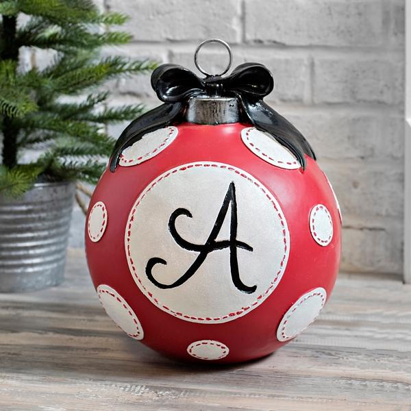 Red Polka Dot Monogram A Christmas Ornament Statue