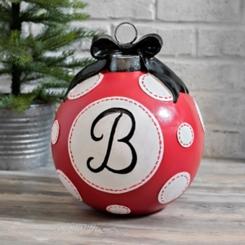 Red Polka Dot Monogram B Christmas Ornament Statue