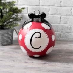 Red Polka Dot Monogram Christmas Ornament Statues