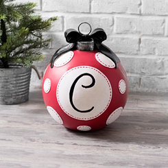 Red Polka Dot Monogram Christmas Ornament Statues