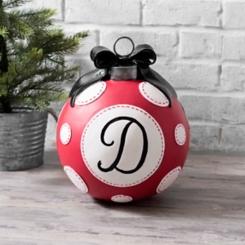 Red Polka Dot Monogram D Christmas Ornament Statue