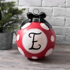 Red Polka Dot Monogram E Christmas Ornament Statue