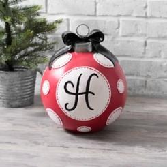Red Polka Dot Monogram H Christmas Ornament Statue