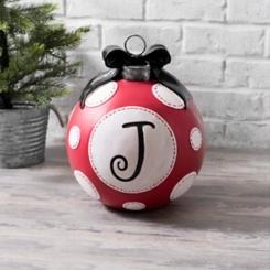 Red Polka Dot Monogram J Christmas Ornament Statue