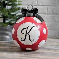 Red Polka Dot Monogram K Christmas Ornament Statue