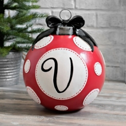 Red Polka Dot Monogram V Christmas Ornament Statue