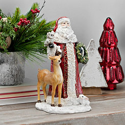 Santa with Deer and Owl Figurine