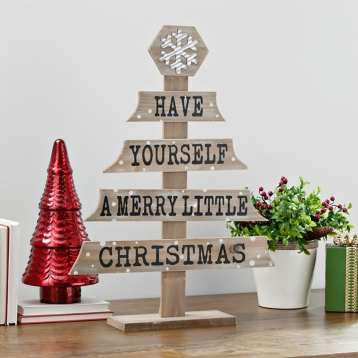 wood plank merry little christmas tree kirklands - Little Christmas Tree