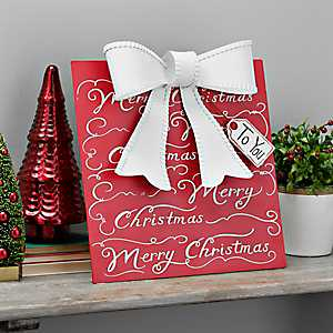 Merry Christmas Script Metal Present