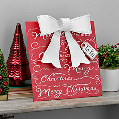 Merry Christmas Script Metal Present