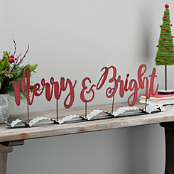 Merry And Bright Metal Ribbon Sign