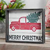 Framed Merry Christmas Truck Tabletop Art