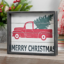 Framed Merry Christmas Truck Tabletop Art