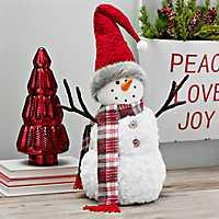 Plaid Scarf and Santa Hat Plush Snowman
