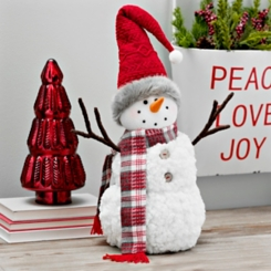 Plaid Scarf and Santa Hat Plush Snowman