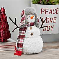 Plaid Scarf and Flap Hat Plush Snowman