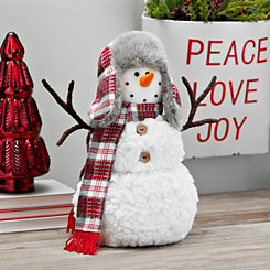 Plaid Scarf and Flap Hat Plush Snowman