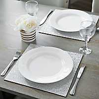 Glittering Silver Placemats, Set of 2