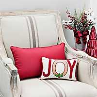 Joy Burlap and Red Typogaphy Mini Accent Pillow