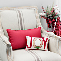 Joy Burlap and Red Typogaphy Mini Accent Pillow