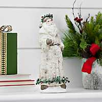 Forest Santa With Holly Berry Garland Figurine
