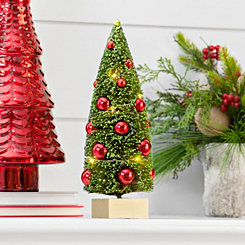 Pre-Lit Sisal Christmas Tree with Ornaments
