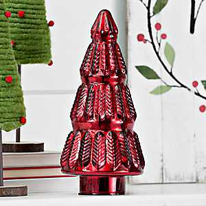 Red Mercury Glass Tree, 12 In.