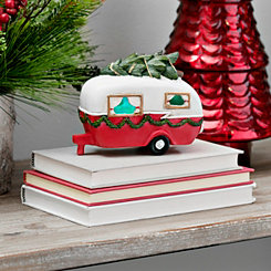 Pre-Lit Christmas Camper with Tree Figurine
