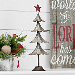 Galvanized Metal Red Star Tree, 21.5 in.