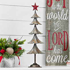 Galvanized Metal Red Star Tree, 26 in.