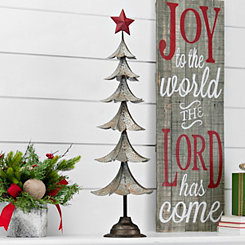 Galvanized Metal Red Star Tree, 31.75 in.