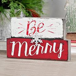 Be Merry Snowflake Stacked Christmas Plaque