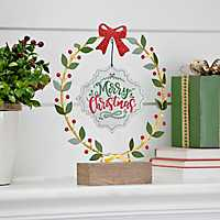 Pre-Lit Tabletop Merry Christmas Wreath Sign
