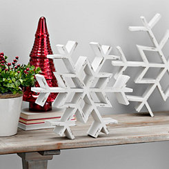 White Wood Snowflake Statue, 15 in.