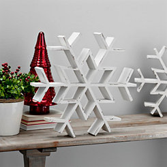 White Wood Snowflake Statue, 18.5 in.