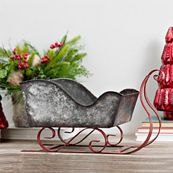 Galvanized Metal Red Runner Sleigh Statue