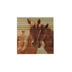 Horses Snuggling Wood Art Print