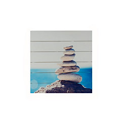 Stacked Stones Wood Art Print