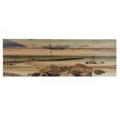 Rocky Beach Wood Art Print