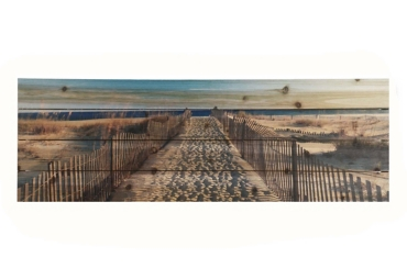 Walk To The Beach Wood Art Print