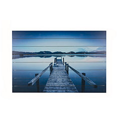 Dock At The Lake Wood Art Print