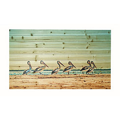 Walking Pelicans Wood Art Print