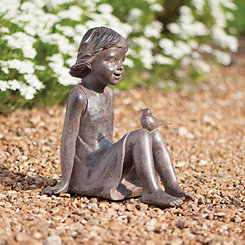 Girl with Bird Garden Statue